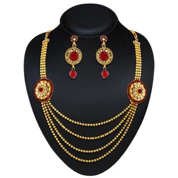 Traditional Design Red Austrian Stone Wedding Wear Necklace Set