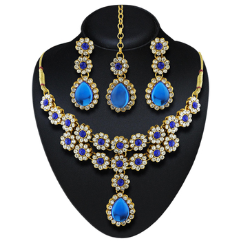 Classy Design Austrian Stone Gold Finishing Party Wear Necklace Set With Maang Tikka
