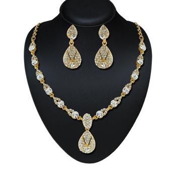 Exotic Design Austrian Stone Gold Finishing Necklace Set