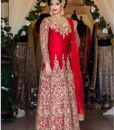 Buy Red tapeta silk embroidered semi stitched salwar with dupatta salwars-and-churidar online