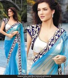 Buy Bollywood designer sea blue net saree with stylish blouse net-saree online