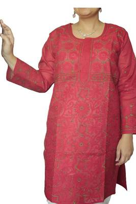 ong Sleeves Lucknowi Kurti in Red color with Green embroidery of Floral motifs and jalidar work