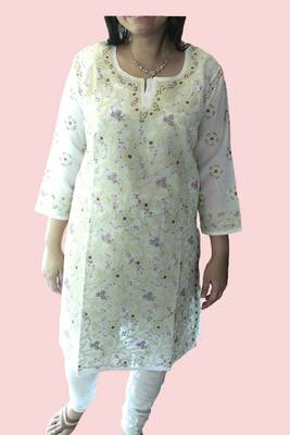 Lucknowi Kurti in Ivory color with Lt Green embroidery and magenta accent