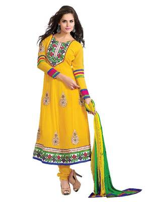 Ritiriwaz georgette yellow color anarkali salwar suit AS1502