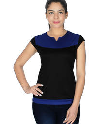 Buy Blue and black lycra viscose tops top online