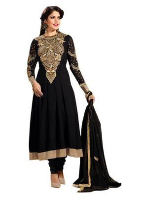 Riti Riwaz black georgette semi stitched anarkali suit with dupatta AF4101