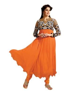 Riti Riwaz orange georgette semi stitched anarkali suit with dupatta AF4102