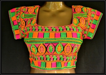 Multicolor kutch embroidered readymade blouse