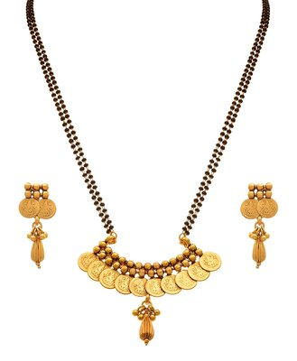 JFL - Traditional Ethnic Temple Goddess Laxmi Coin One Gram Gold Plated Mangalsutra