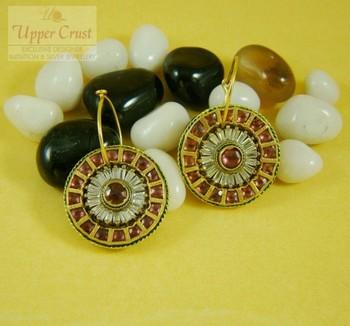 Ethnic Indian Gold Plated Disc Kundan Baali Bali earrings