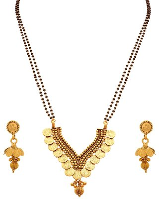 JFL - Traditional Ethnic Temple Goddess Laxmi Coin One Gram Gold Plated Black Bead Double Chain Mangalsutra