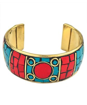 Multicolored Coral look fashion bracelet - Adjustable