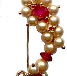 Buy Nath medium Clip type Maharashtrian traditional Nose ring of Pearl bead nose-ring online