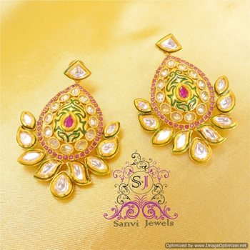 GORGEOUS KUNDAN MEENA RUBY DANGLERS