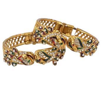 Gold Platted Designer Diamond Studded Kadas set of 2