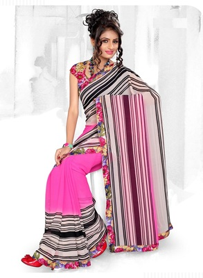 Delightful OffWhite & Pink Faux Georgette Casual Printed Saree