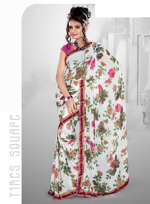 Classic White Faux Georgette Casual Printed  Saree