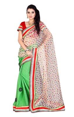 Triveni Striking Dual Color Border Work Jacquard Sari TSWV605a