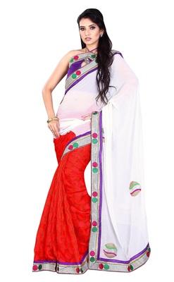 Triveni Fabulous Dual Color Border Work Jacquard Sari TSWV610b