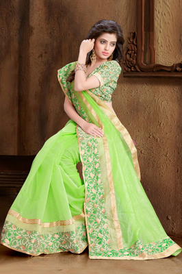 7cf7cab0f4cc41 Green woven super net saree with blouse - moKanc - 1498643