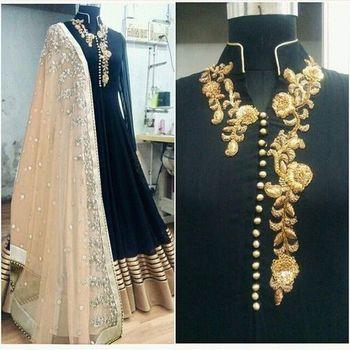 Black art silk embroidered semi stitiched salwar with dupatta