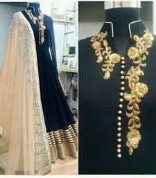 Buy Black art silk embroidered semi stitiched salwar with dupatta anarkali-salwar-kameez online