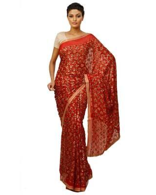 Phulkari Saree faux chiffon Embroidered