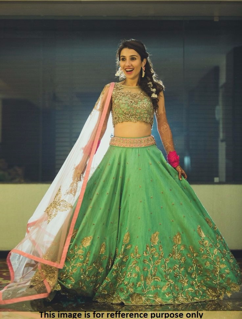 Where To Buy Bed Sheets Buy Green Georgette embroidered semi stitched Lehenga ...
