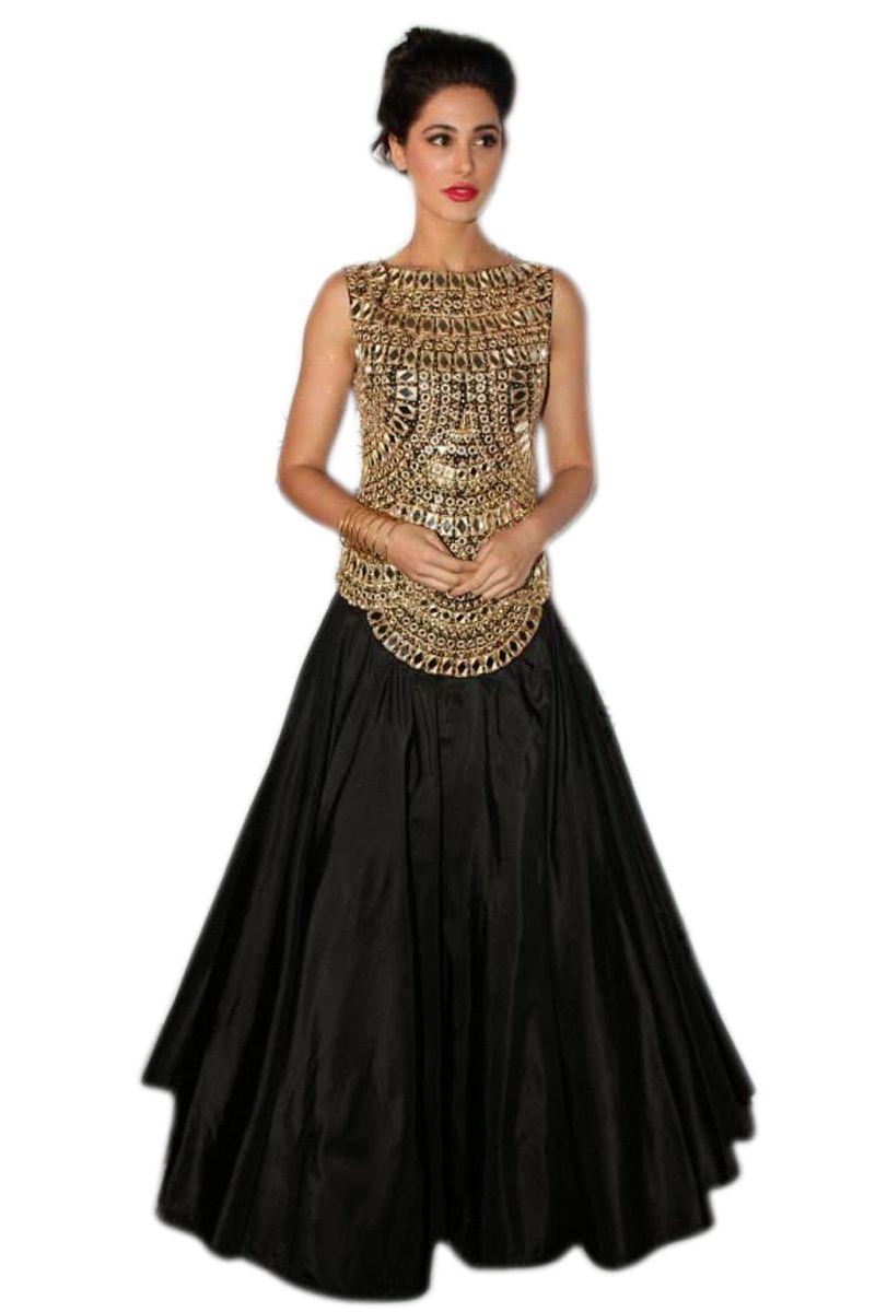 90ce146cd4 Black velvet mirror work semi stitched salwar - RKT - 1499974
