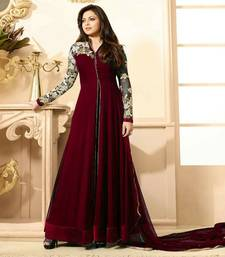 Buy Maroon georgette embroidered semi stitiched salwar with dupatta collar-neck-design online
