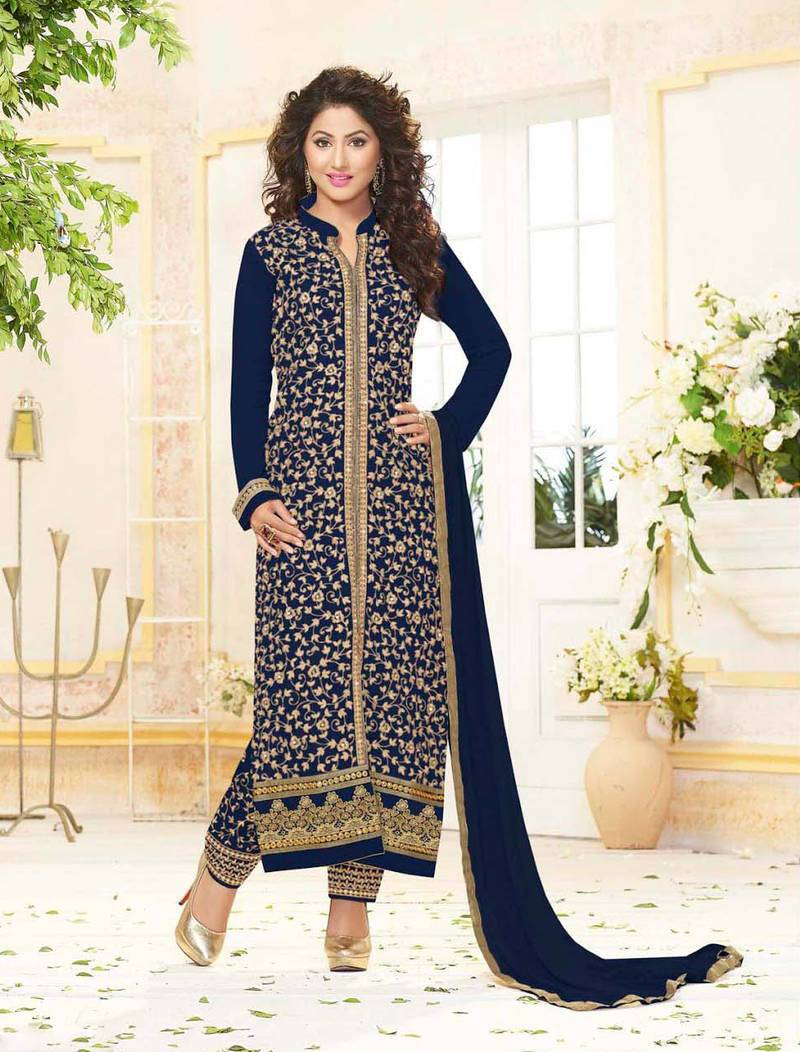 5a26b99b38263 ... Styles Closet Blue embroidered georgette semi stitched salwar with  dupatta