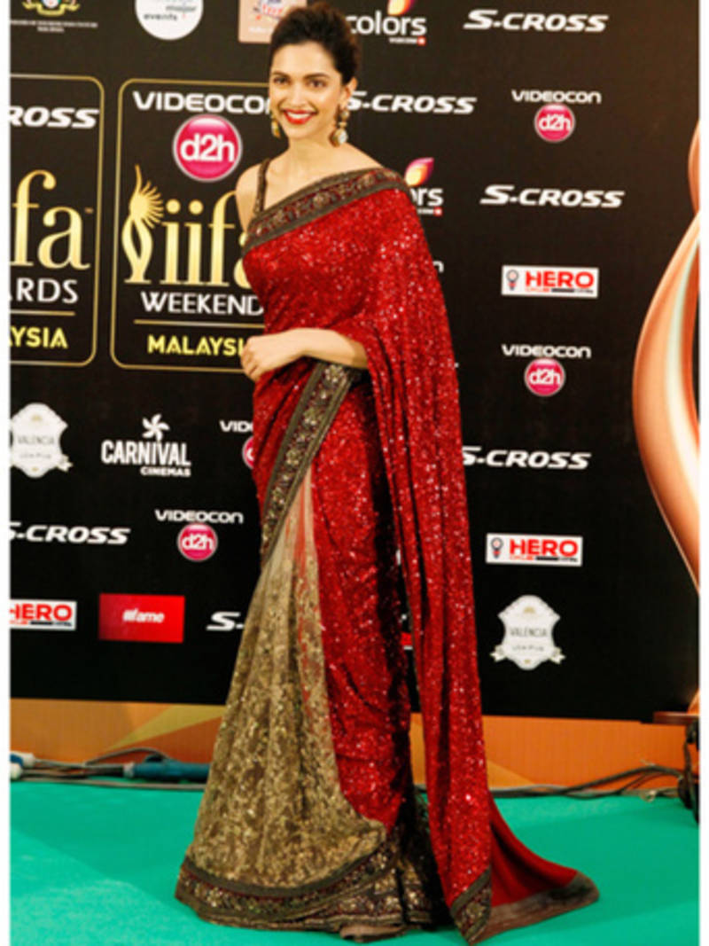 dc4d49bb7002b0 DEEPIKA IIFA RED embroidered georgette saree with blouse - BOLLYWOOD ...