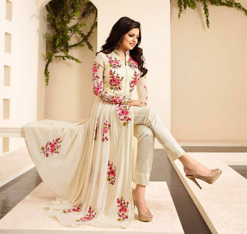 b1b53ae070 Off white georgette embroidered semi stitched salwar with dupatta - Metroz  - 1150930