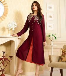 Buy maroon georgette embroidered semi stitched kurti pakistani-kurti online