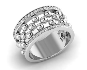 Micreation Brand New Cubic Zirconia Sterling Silver Ring Model No.MSR0100