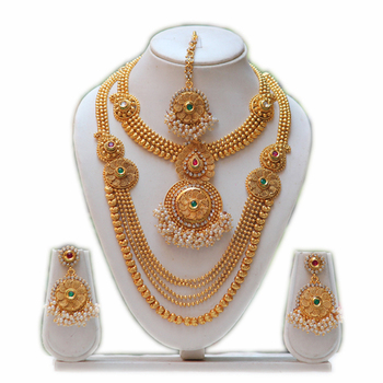 South indian traditional antique multicolor kundan haram set