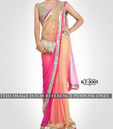 Buy Bikaw Embroidered Beige Net Traditional Party Wear Saree. - KT-3005 net-saree online