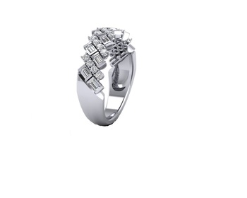 Micreation Brand New Cubic Zirconia Sterling Silver Ring Model No.MSR0127