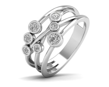 Micreation Brand New Cubic Zirconia Sterling Silver Ring Model No.MSR0186
