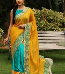 Buy Yellow embroidered georgette saree with blouse bollywood-saree online