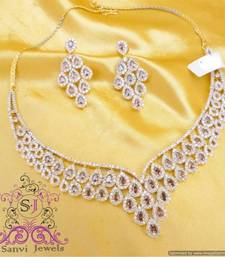 Buy Rhodolite American Diamond Necklace Necklace online