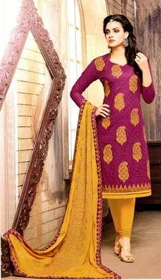 Purple Cotton Rich Embroidery Unstitched Salwar With Dupatta