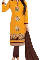 Buy Yellow and coffee embroidered cotton unstitched salwar with dupatta ayesha-takia-salwar-kameez online