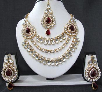 2 brooch 3 line maroon stone wedding necklace set