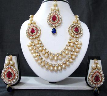 2 brooch pink and blue stone wedding necklace set
