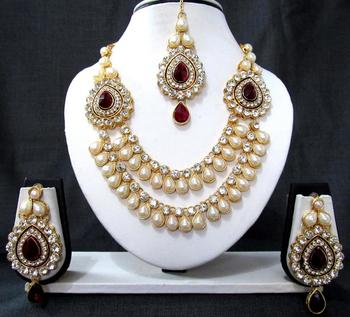 Two brooch maroon stone wedding necklace set