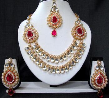 2 side brooch dark pink pearl wedding necklace set