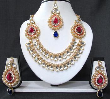 2 side brooch pink and blue wedding necklace set