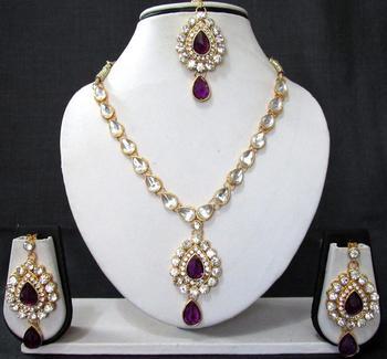 Nice purple kundan necklace set