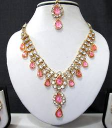 Buy Two line pink drop necklace set necklace-set online